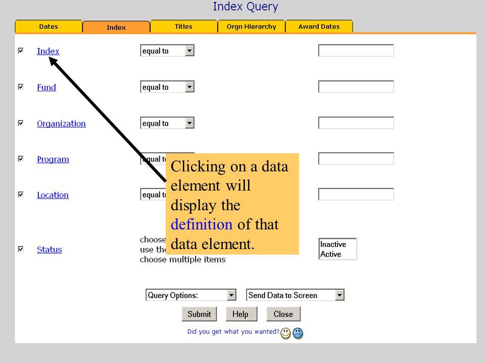 Clicking on a data element will display the definition of that data element.