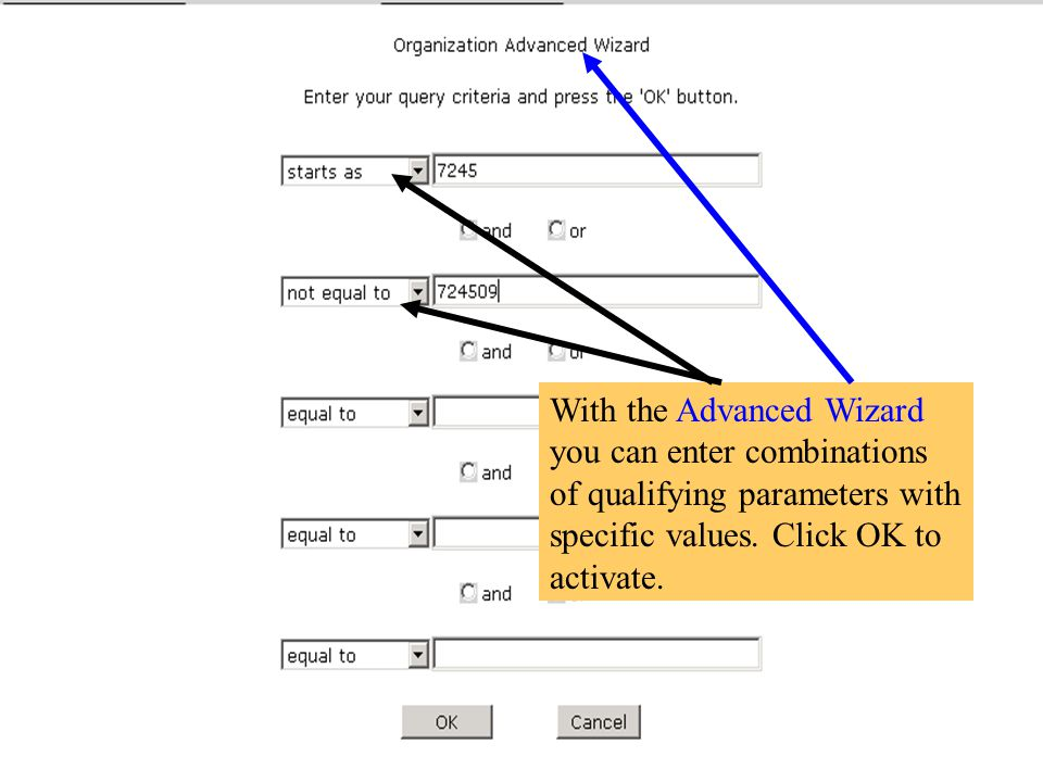 With the Advanced Wizard you can enter combinations of qualifying parameters with specific values.