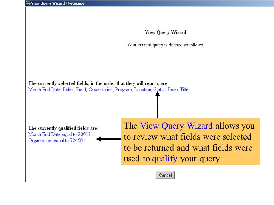 The View Query Wizard allows you to review what fields were selected to be returned and what fields were used to qualify your query.