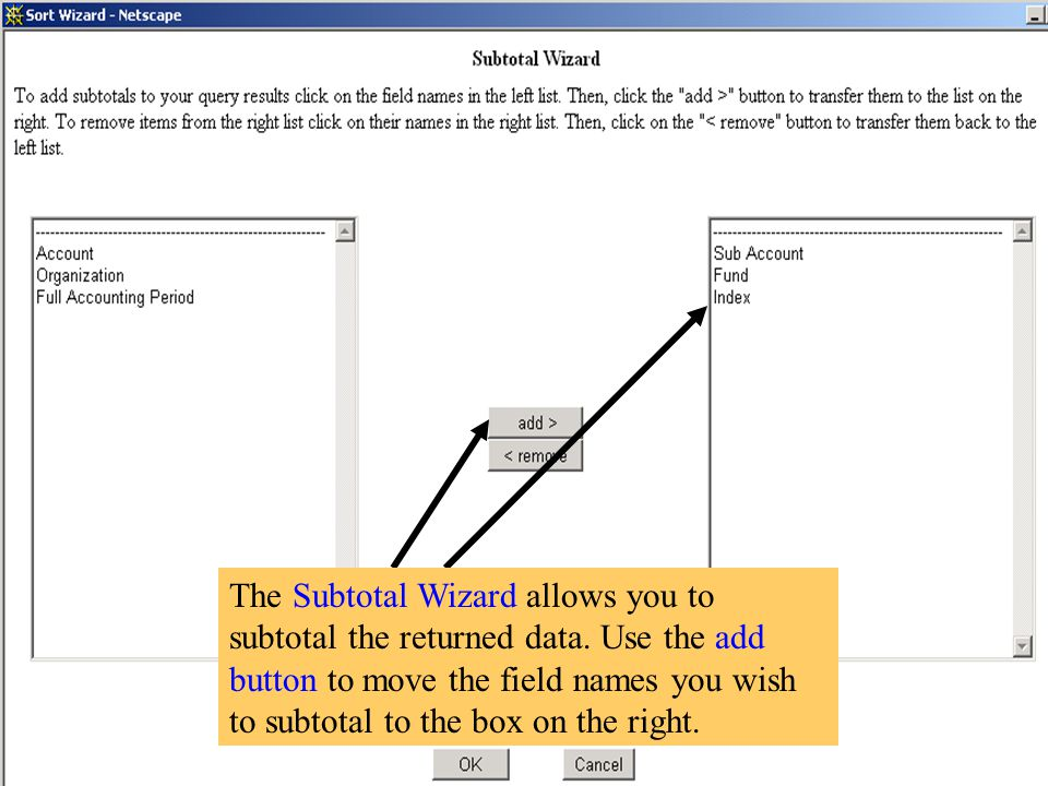 The Subtotal Wizard allows you to subtotal the returned data.