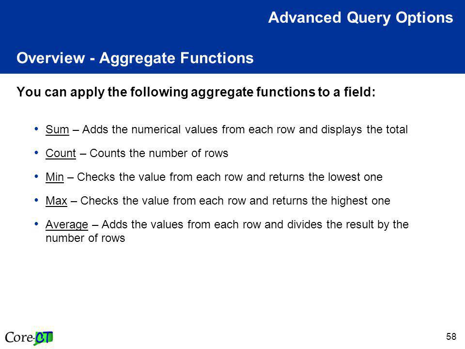 58 Overview - Aggregate Functions You can apply the following aggregate functions to a field: Sum – Adds the numerical values from each row and displays the total Count – Counts the number of rows Min – Checks the value from each row and returns the lowest one Max – Checks the value from each row and returns the highest one Average – Adds the values from each row and divides the result by the number of rows Advanced Query Options