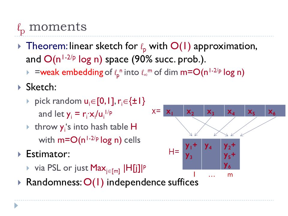 l p moments  Theorem: linear sketch for l p with O(1) approximation, and O(n 1-2/p log n) space (90% succ.