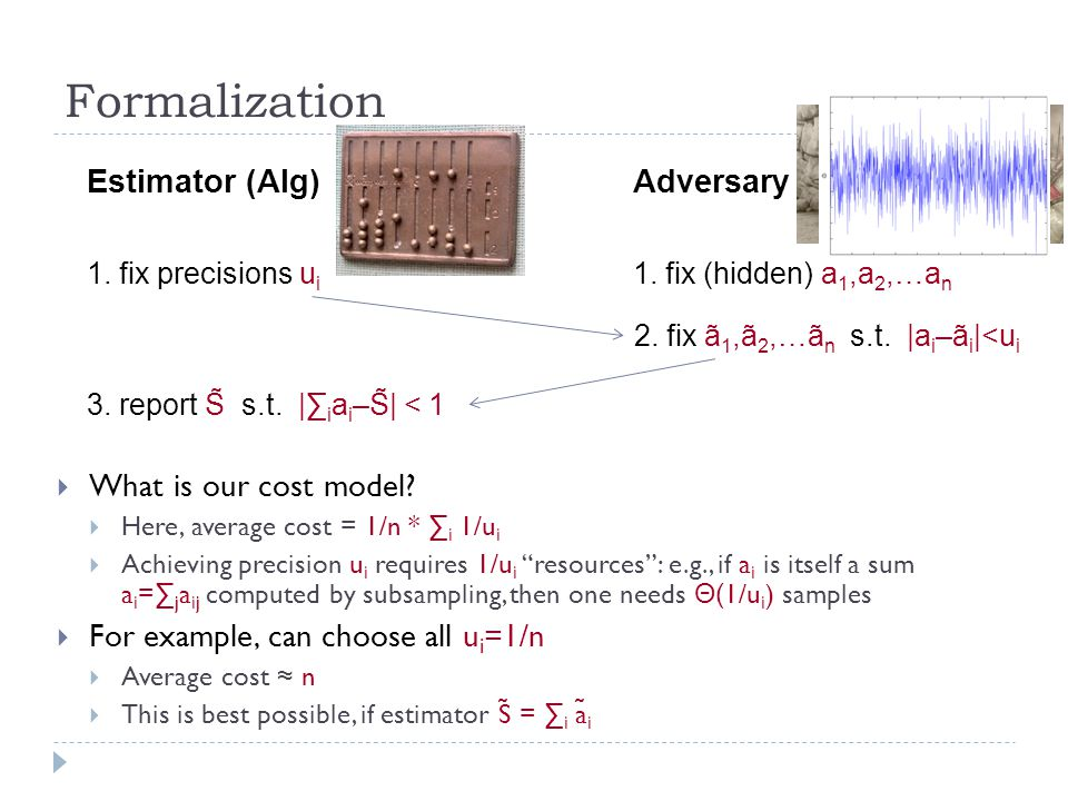 Formalization Estimator (Alg)Adversary 1. fix (hidden) a 1,a 2,…a n 1.