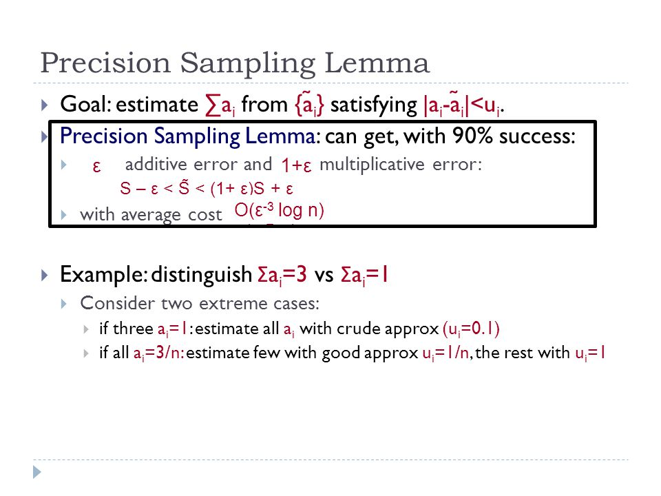 Precision Sampling Lemma  Goal: estimate ∑a i from {a ̃ i } satisfying |a i -a ̃ i |<u i.