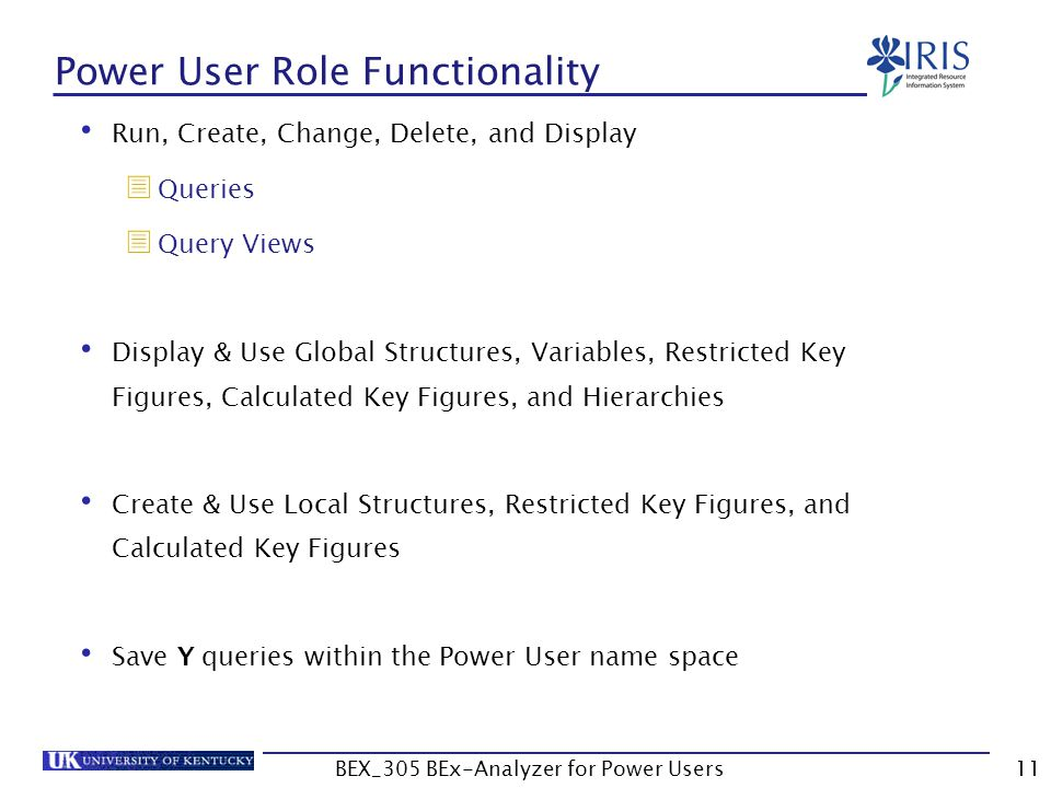 11 Power User Role Functionality Run, Create, Change, Delete, and Display  Queries  Query Views Display & Use Global Structures, Variables, Restrict