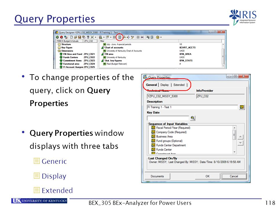 118 Query Properties To change properties of the query, click on Query Properties Query Properties window displays with three tabs  Generic  Display