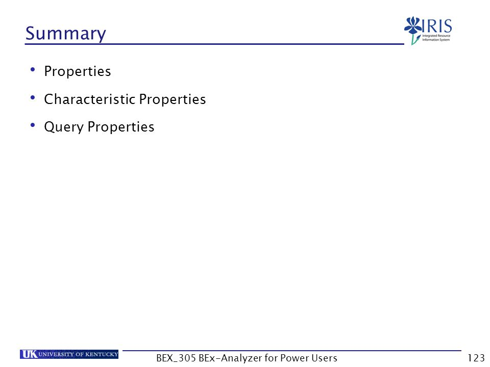 123 Summary Properties Characteristic Properties Query Properties BEX_305 BEx-Analyzer for Power Users