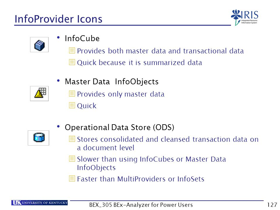 127 InfoProvider Icons InfoCube  Provides both master data and transactional data  Quick because it is summarized data Master Data InfoObjects  Pro