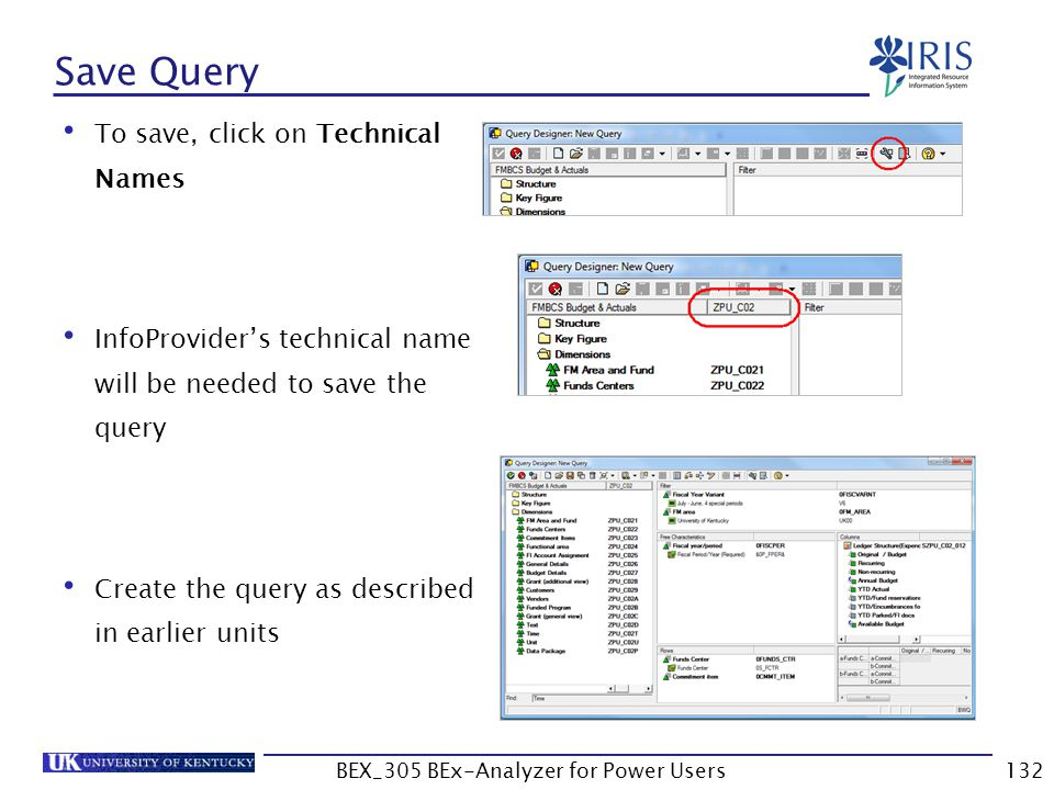 132 Save Query To save, click on Technical Names InfoProvider's technical name will be needed to save the query Create the query as described in earli