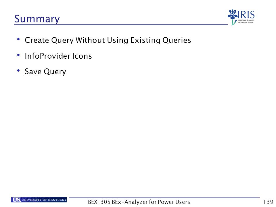 139 Summary Create Query Without Using Existing Queries InfoProvider Icons Save Query BEX_305 BEx-Analyzer for Power Users