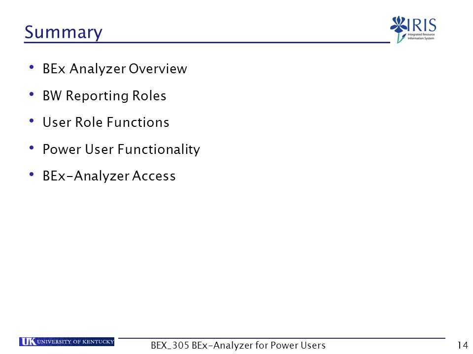14 Summary BEx Analyzer Overview BW Reporting Roles User Role Functions Power User Functionality BEx-Analyzer Access BEX_305 BEx-Analyzer for Power Us