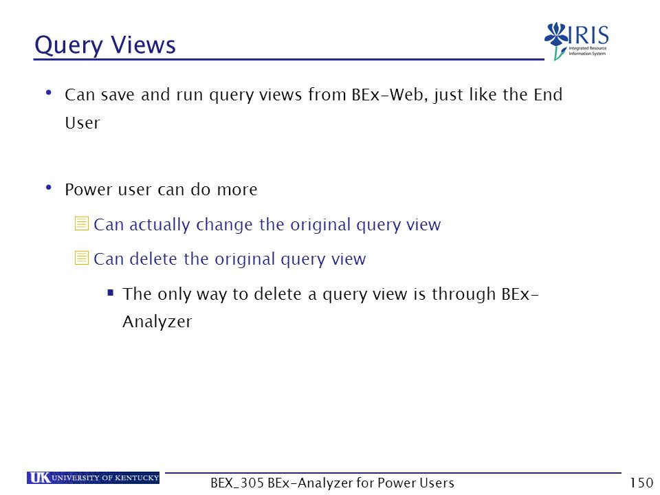 150 Query Views Can save and run query views from BEx-Web, just like the End User Power user can do more  Can actually change the original query view