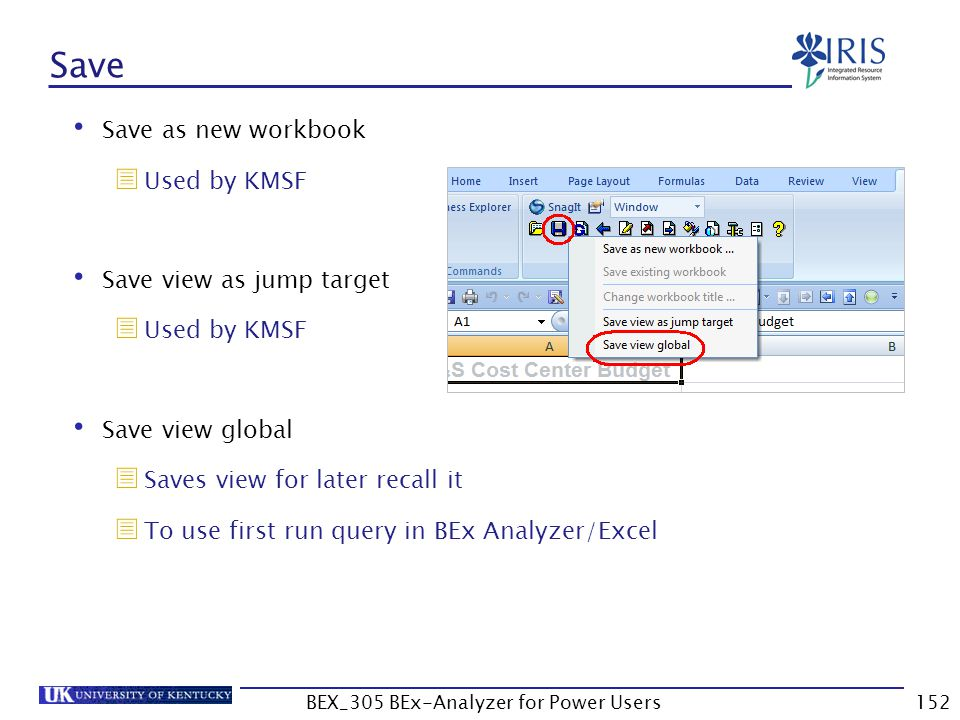 152 Save Save as new workbook  Used by KMSF Save view as jump target  Used by KMSF Save view global  Saves view for later recall it  To use first