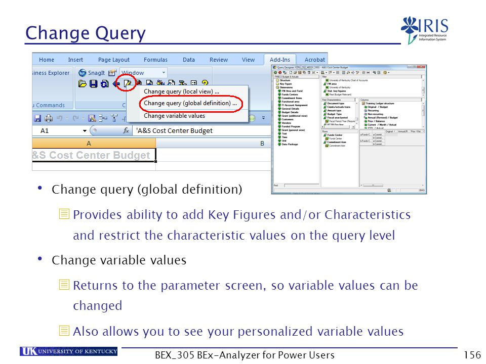 156 Change Query Change query (global definition)  Provides ability to add Key Figures and/or Characteristics and restrict the characteristic values