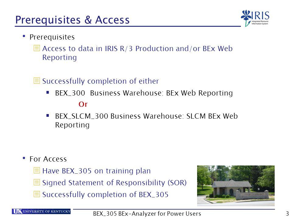 3 Prerequisites & Access Prerequisites  Access to data in IRIS R/3 Production and/or BEx Web Reporting  Successfully completion of either  BEX_300