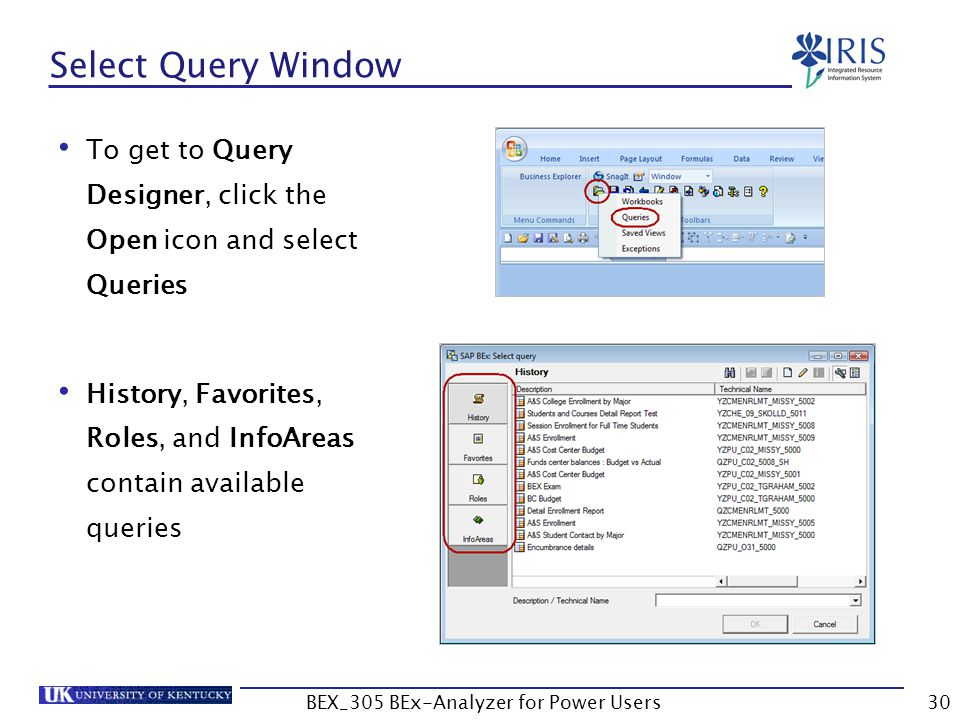 30 Select Query Window To get to Query Designer, click the Open icon and select Queries History, Favorites, Roles, and InfoAreas contain available que