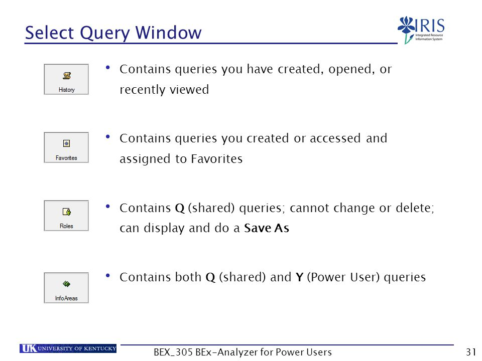 31 Select Query Window Contains queries you have created, opened, or recently viewed Contains queries you created or accessed and assigned to Favorite