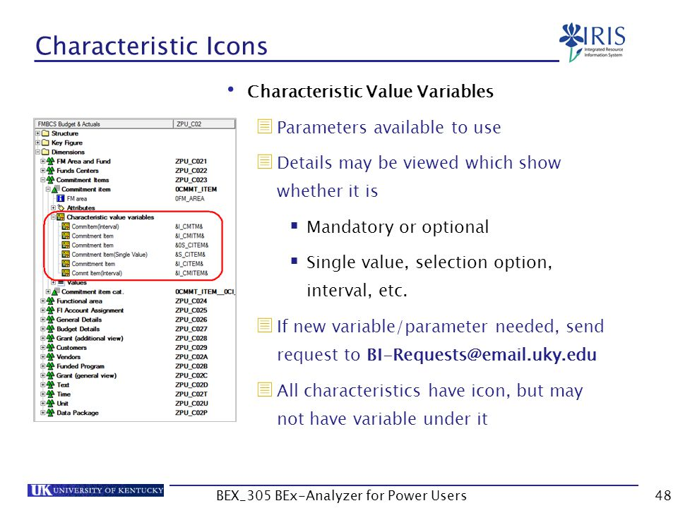 48 Characteristic Icons Characteristic Value Variables  Parameters available to use  Details may be viewed which show whether it is  Mandatory or o