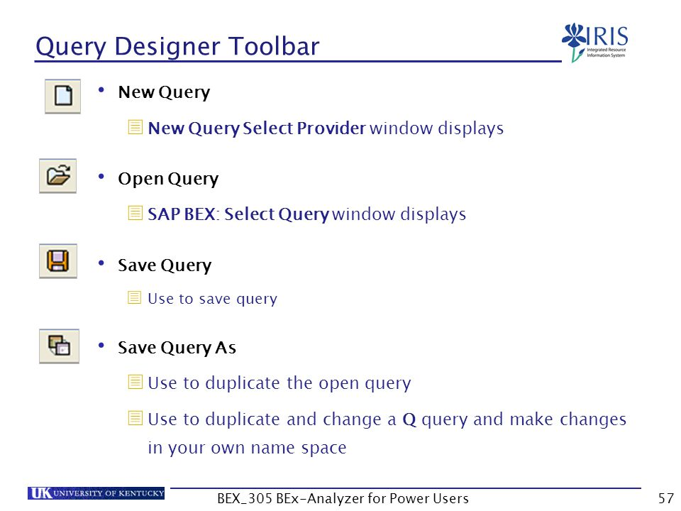 57 Query Designer Toolbar New Query  New Query Select Provider window displays Open Query  SAP BEX: Select Query window displays Save Query  Use to