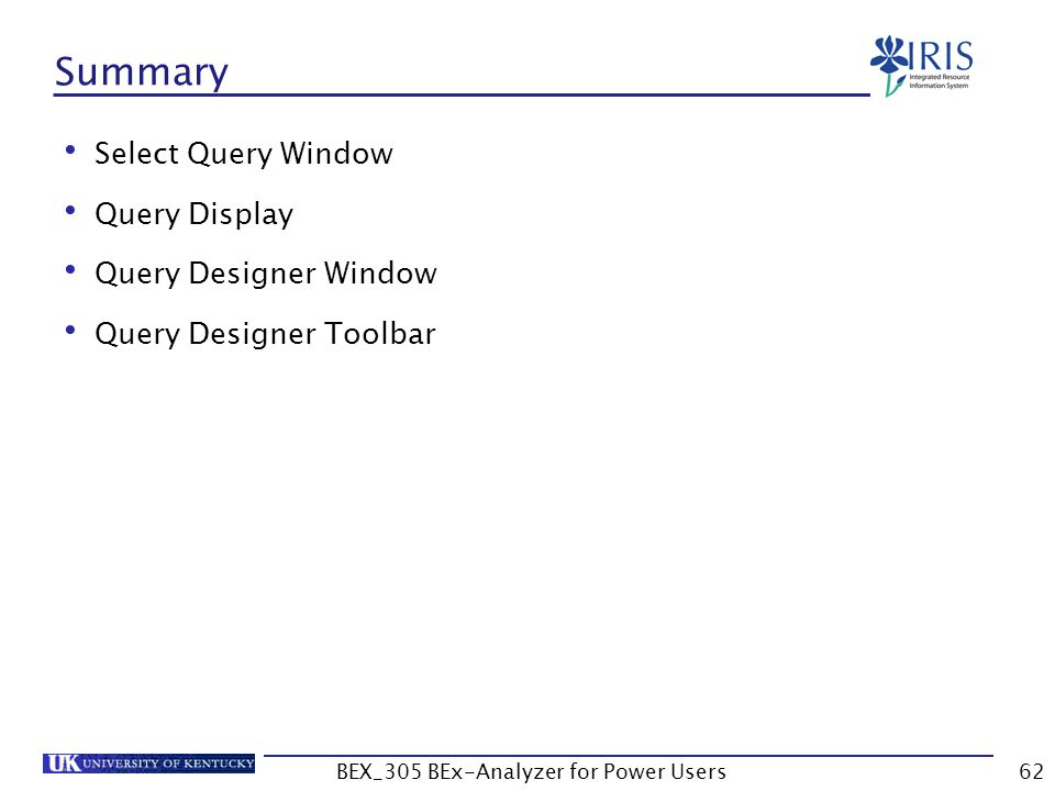 62 Summary Select Query Window Query Display Query Designer Window Query Designer Toolbar BEX_305 BEx-Analyzer for Power Users