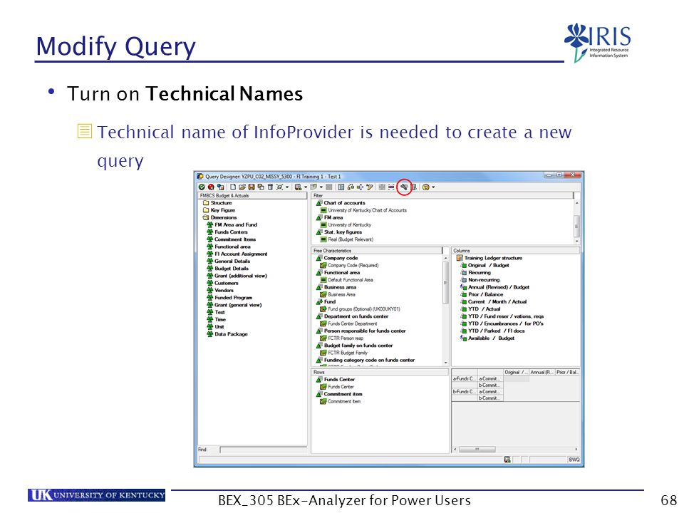68 Modify Query Turn on Technical Names  Technical name of InfoProvider is needed to create a new query BEX_305 BEx-Analyzer for Power Users