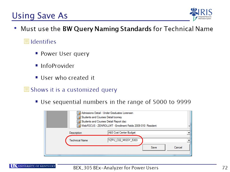 72 Using Save As Must use the BW Query Naming Standards for Technical Name  Identifies  Power User query  InfoProvider  User who created it  Show