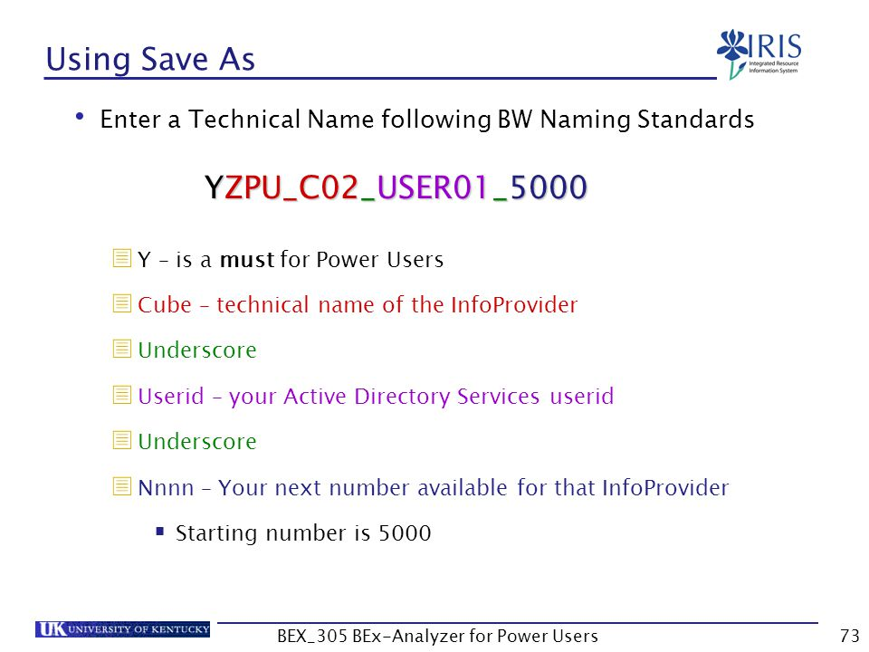 73 Using Save As Enter a Technical Name following BW Naming Standards  Y – is a must for Power Users  Cube – technical name of the InfoProvider  Un