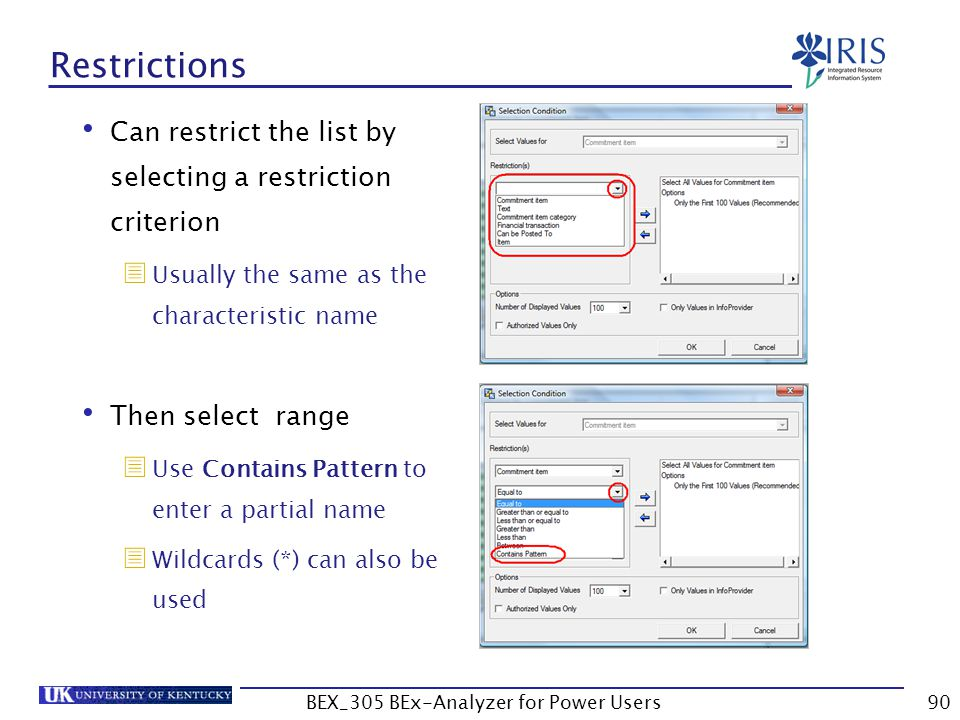 90 Restrictions Can restrict the list by selecting a restriction criterion  Usually the same as the characteristic name Then select range  Use Conta