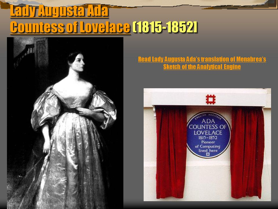 Lady Augusta Ada Countess of LovelaceLady Augusta Ada Countess of Lovelace (1815-1852] Lady Augusta Ada Countess of Lovelace Lady Augusta Ada Countess