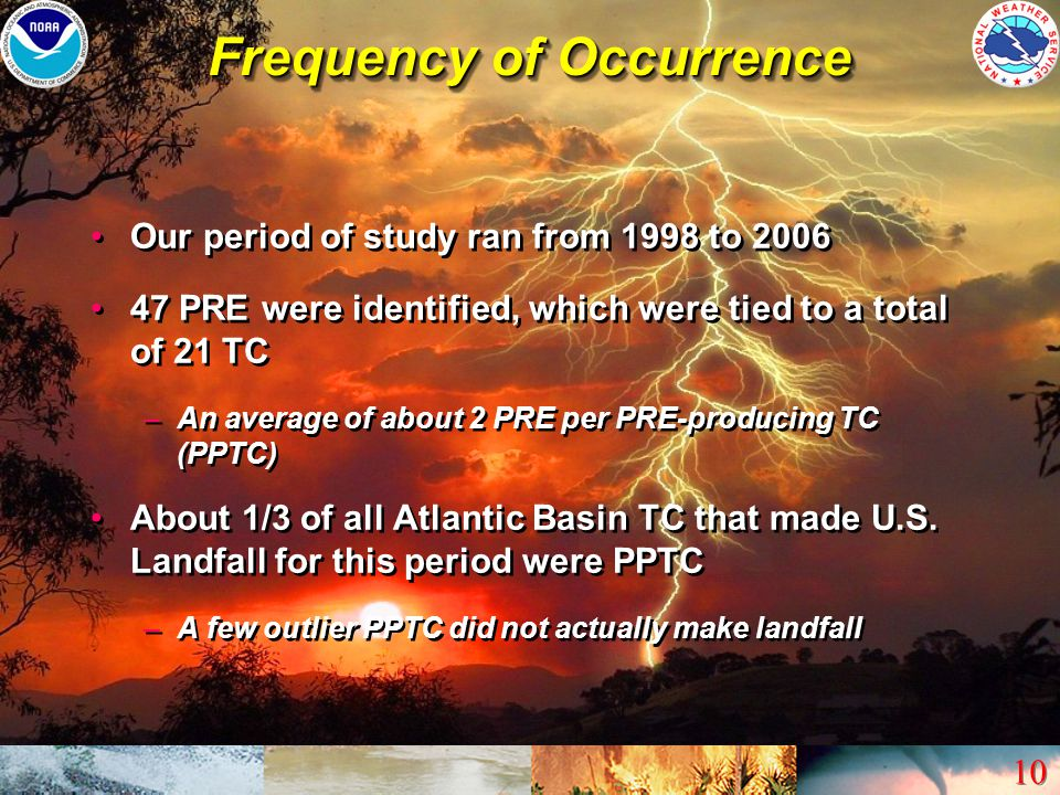 10 Frequency of Occurrence Our period of study ran from 1998 to 2006 47 PRE were identified, which were tied to a total of 21 TC –An average of about