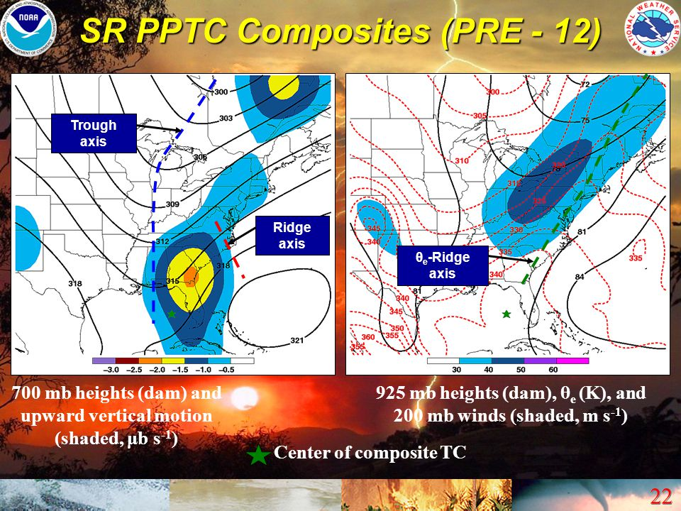 22 SR PPTC Composites (PRE - 12) Center of composite TC Trough axis Ridge axis θ e -Ridge axis 700 mb heights (dam) and upward vertical motion (shaded