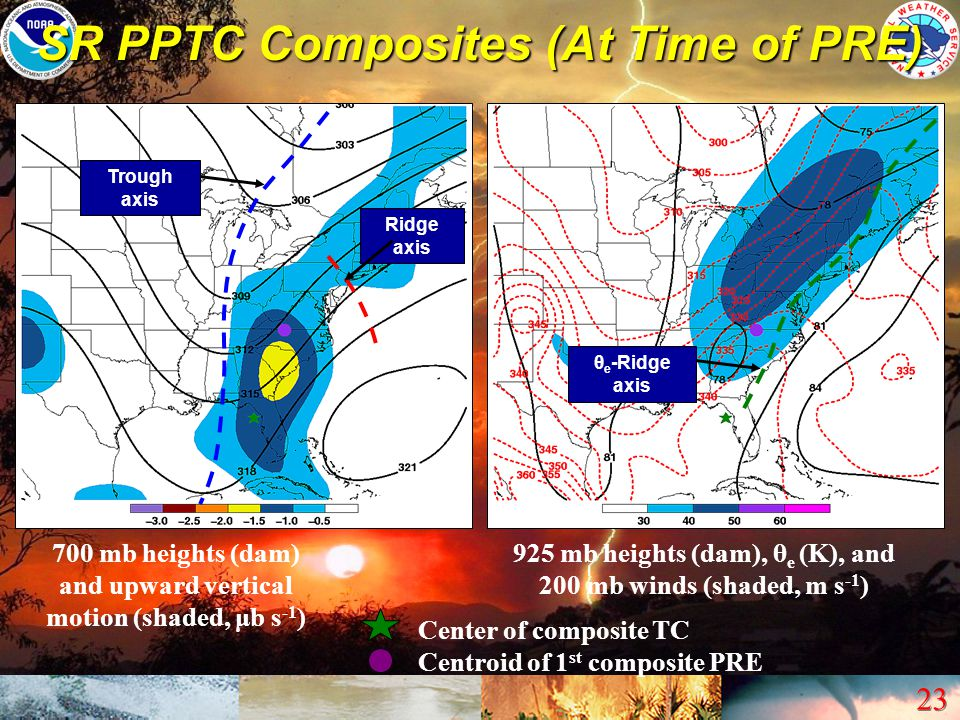 23 SR PPTC Composites (At Time of PRE) 700 mb heights (dam) and upward vertical motion (shaded, μb s -1 ) 925 mb heights (dam), θ e (K), and 200 mb wi