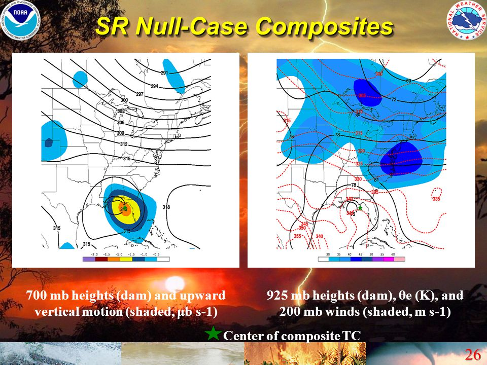 26 SR Null-Case Composites 700 mb heights (dam) and upward vertical motion (shaded, μb s-1) 925 mb heights (dam), θe (K), and 200 mb winds (shaded, m