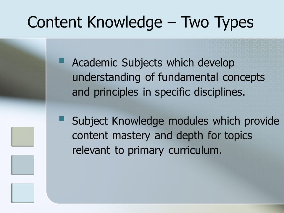  Academic Subjects which develop understanding of fundamental concepts and principles in specific disciplines.  Subject Knowledge modules which prov