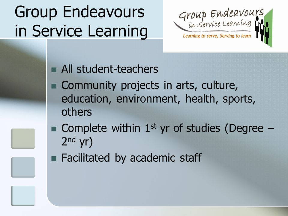 Group Endeavours in Service Learning All student-teachers Community projects in arts, culture, education, environment, health, sports, others Complete
