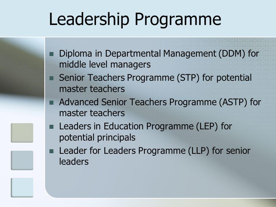 Leadership Programme Diploma in Departmental Management (DDM) for middle level managers Senior Teachers Programme (STP) for potential master teachers