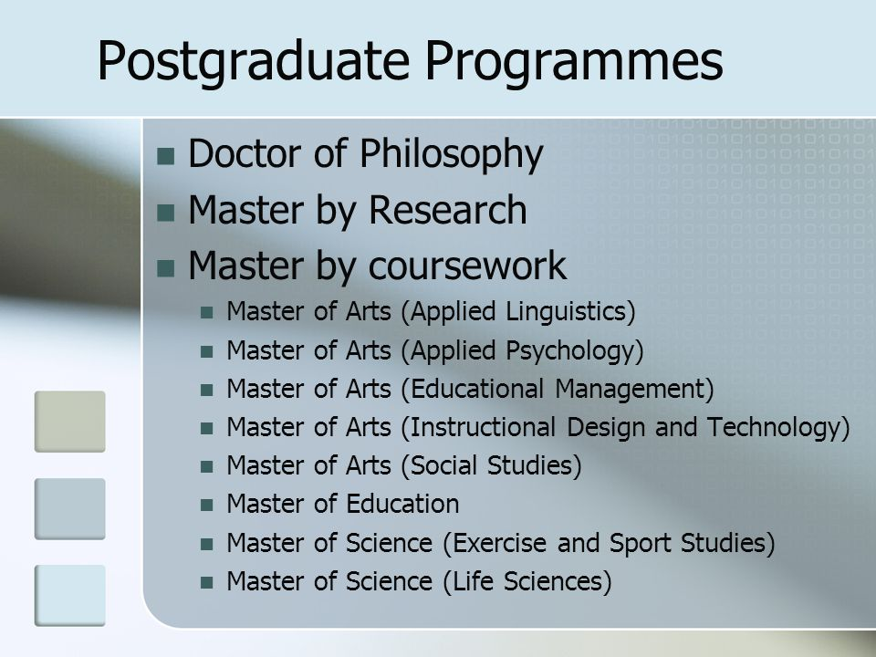Postgraduate Programmes Doctor of Philosophy Master by Research Master by coursework Master of Arts (Applied Linguistics) Master of Arts (Applied Psyc