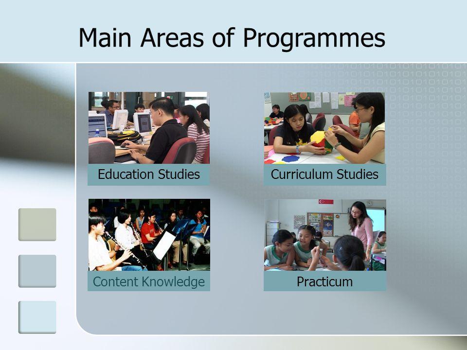 Content Knowledge Main Areas of Programmes Practicum Education Studies Curriculum Studies