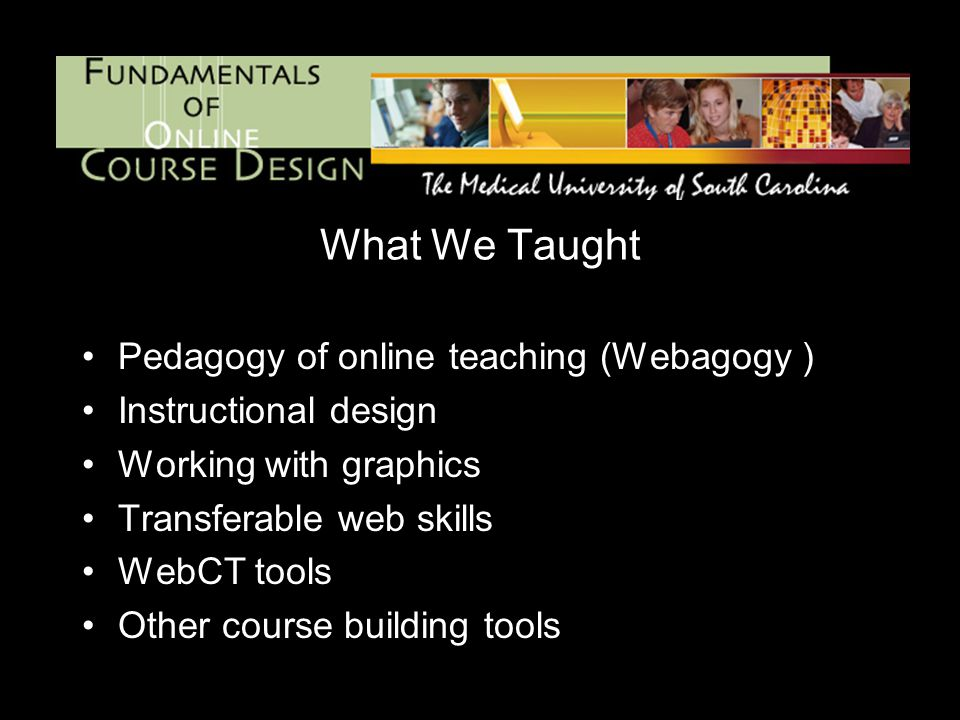 What We Taught Pedagogy of online teaching (Webagogy ) Instructional design Working with graphics Transferable web skills WebCT tools Other course building tools
