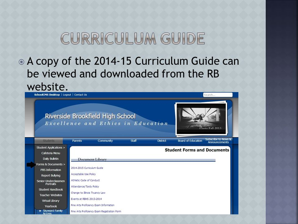  A copy of the 2014-15 Curriculum Guide can be viewed and downloaded from the RB website.
