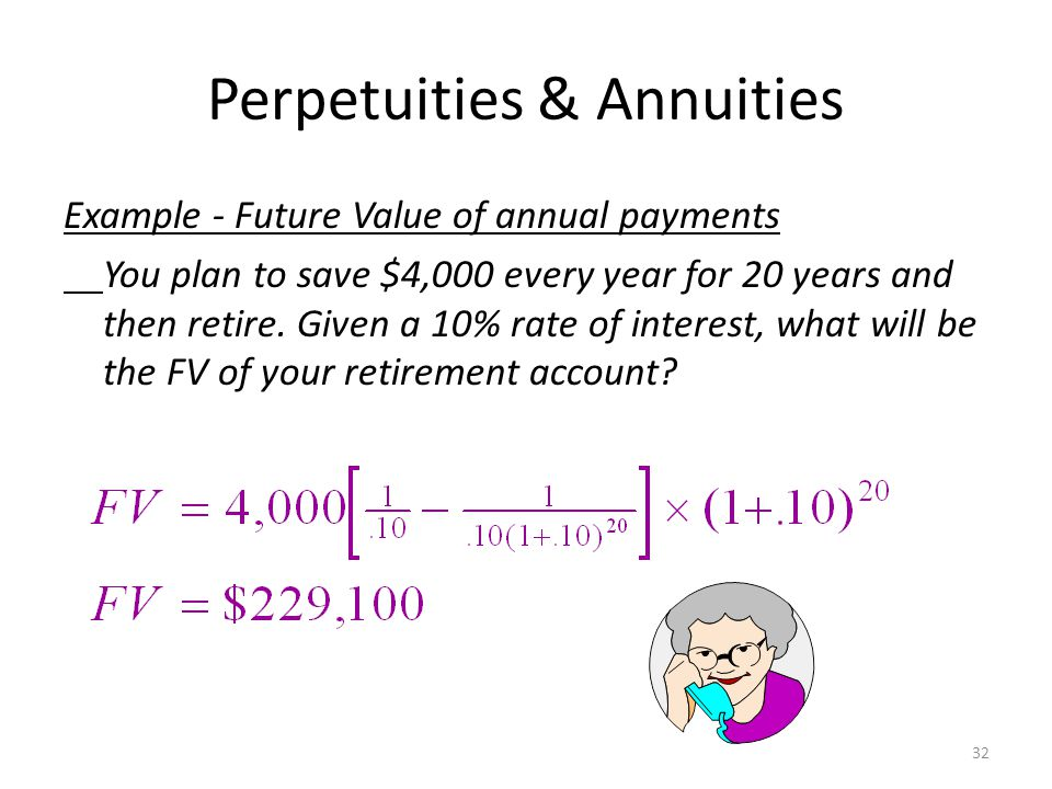 Perpetuities & Annuities Applications Value of payments Implied interest rate for an annuity Calculation of periodic payments – Mortgage payment – Annual income from an investment payout – Future Value of annual payments 31
