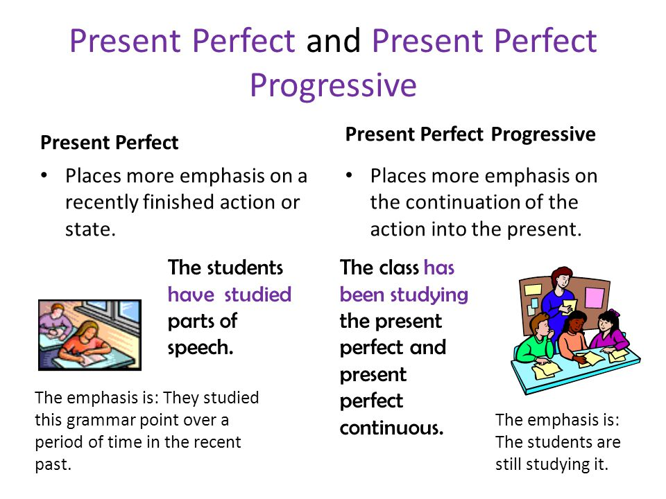 Present Perfect and Present Perfect Progressive Present Perfect Places more emphasis on a recently finished action or state.