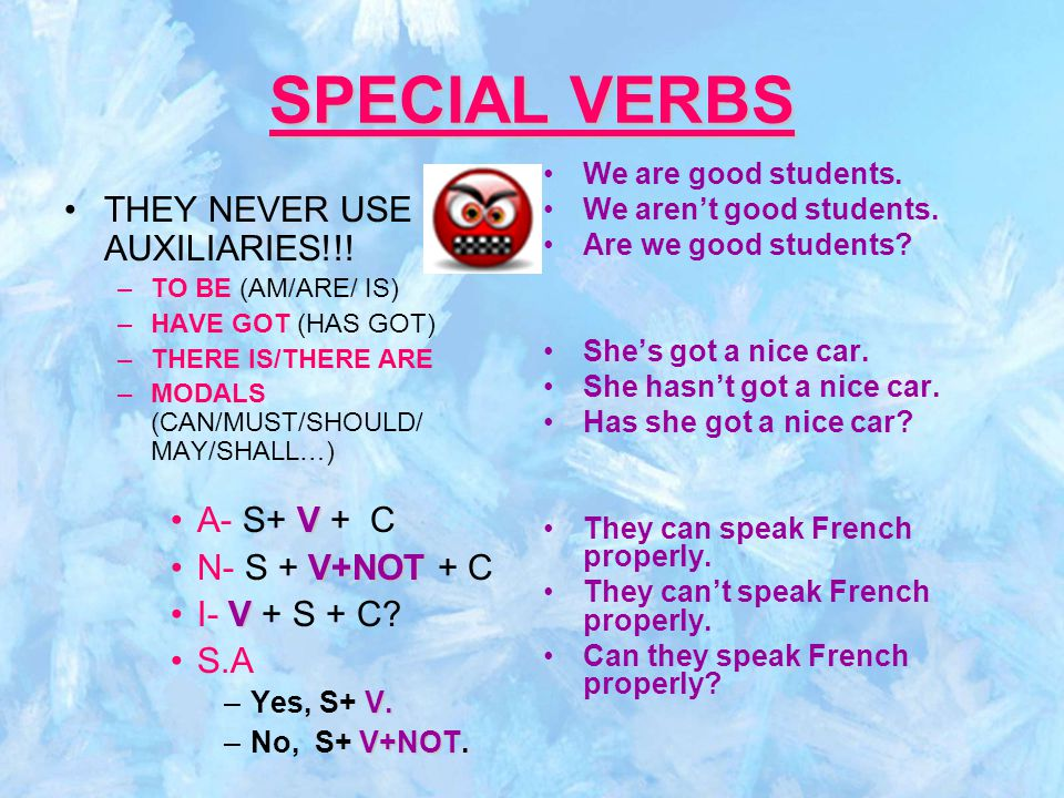 SPECIAL VERBS THEY NEVER USE AUXILIARIES!!.