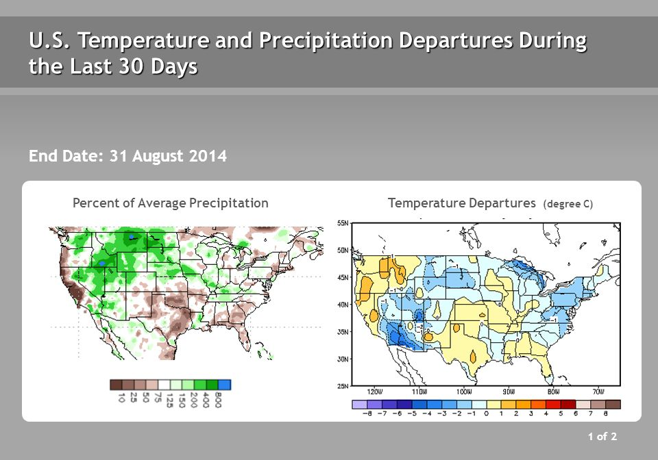 U.S. Temperature and Precipitation Departures During the Last 30 Days End Date: 31 August 2014 Percent of Average Precipitation Temperature Departures