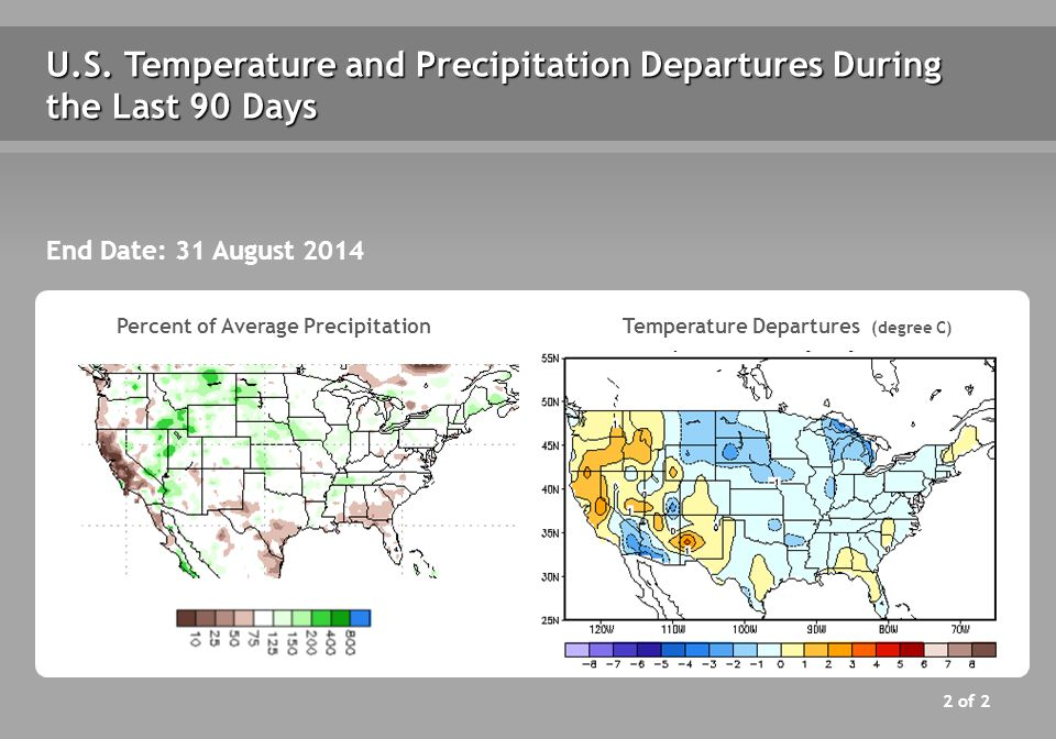 U.S. Temperature and Precipitation Departures During the Last 90 Days End Date: 31 August 2014 Percent of Average PrecipitationTemperature Departures