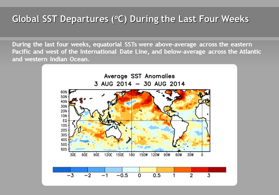 Weekly SST Departures during the Last Four Weeks During the last four weeks, positive SST anomalies persisted west of the Date Line and redeveloped across portions of the east-central equatorial Pacific.