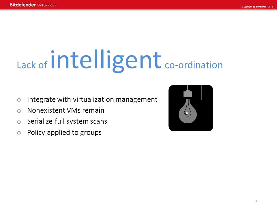 9 Copyright @ Bitdefender 2013 Secure Virtual Appliance the Impact: Security & Capacity Remote Scanning