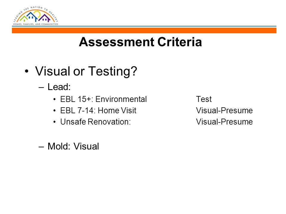 Assessment Criteria Visual or Testing.