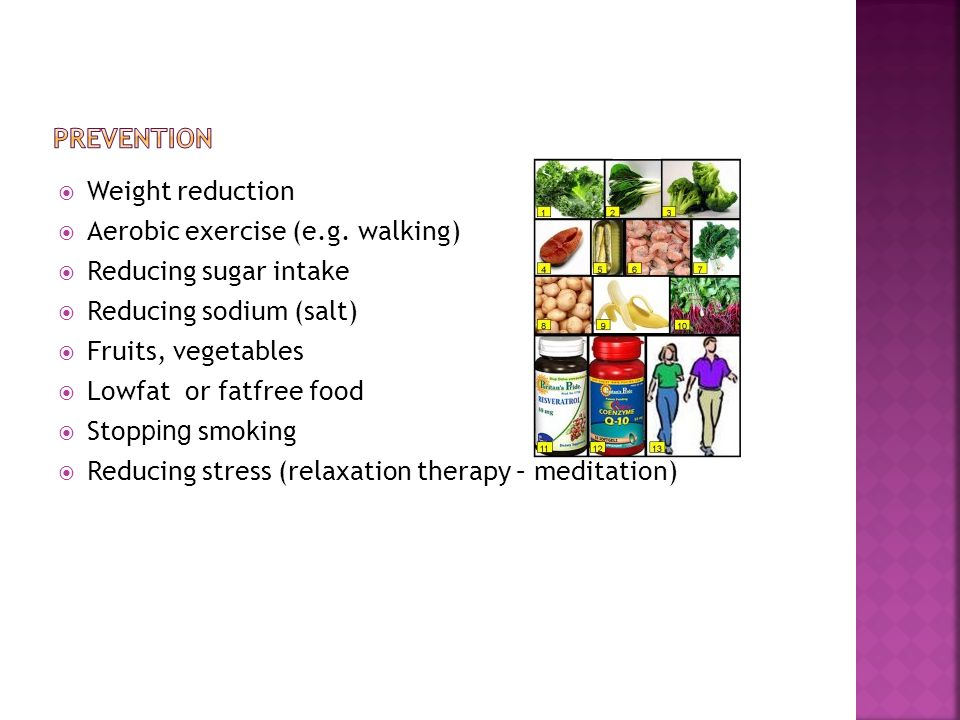  Weight reduction  Aerobic exercise (e.g.