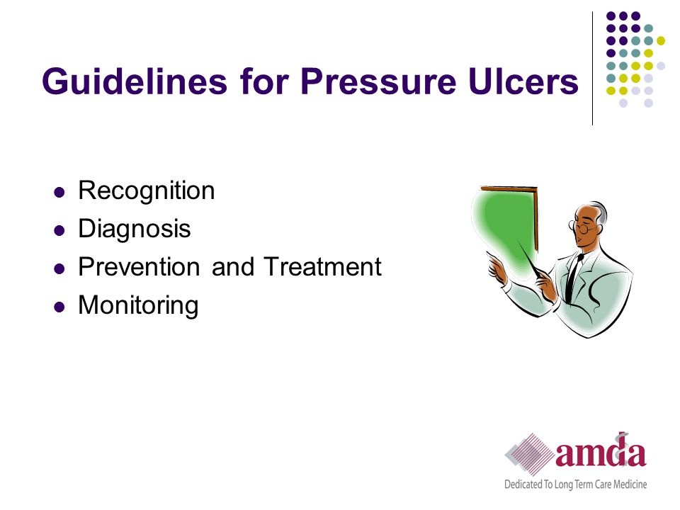F314 Surveyor Guidance: Monitoring Considerations Use of Photography in Pressure Ulcer Monitoring Photography may be used in monitoring as part of the facility's compliance efforts, if the facility has developed a protocol consistent with accepted standards, which include the following: Frequency of use Photos taken at a consistent distance from the wound Type of photographic equipment used Means to ensure that digital images are accurate and not modified Inclusion of resident identification, ulcer location, dates, etc., within the photographic image Parameters for comparison over time